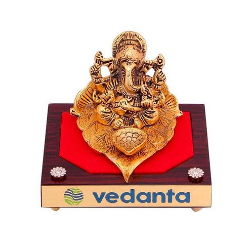 Ganesh Ji Diya ( Brass Finish) On Wooden Base MP-80