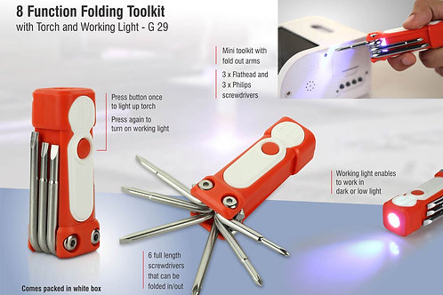 8 function folding toolkit with torch and working light G-29