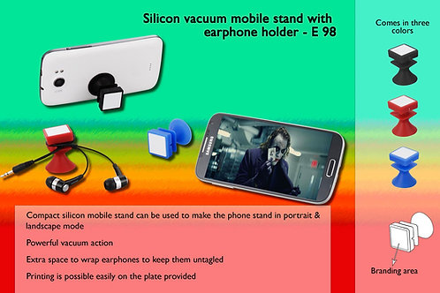 Silicon vacuum mobile stand with earphone holder E-98