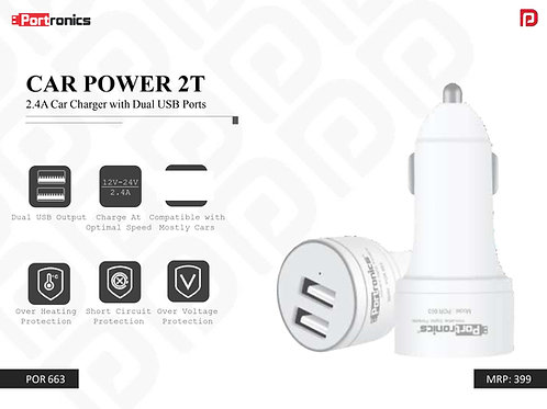 CAR POWER 2T 2.4A Car Charger with Dual USB Ports POR-663