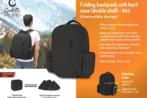 Folding backpack with hard case (double shell) by Castillo Milano S-02