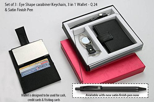 Set of 3 : Eye shape carabiner Keychain (J74), 3 in 1 wallet Q-24