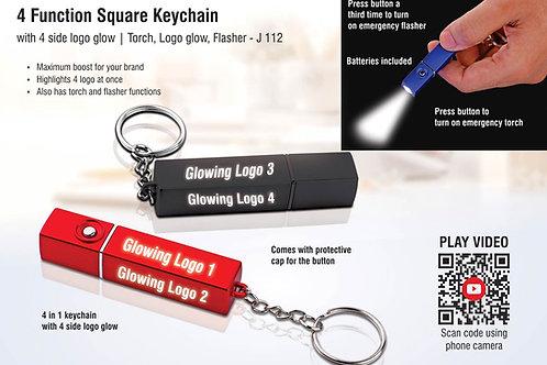 PowerGlow 4 in 1 square keychain with 4 side logo glow J-112