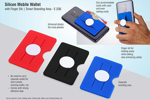Silicon mobile wallet with finger slit | Smart branding area E-236