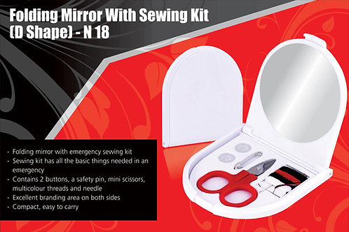 Folding mirror with sewing kit (D shape) N-18