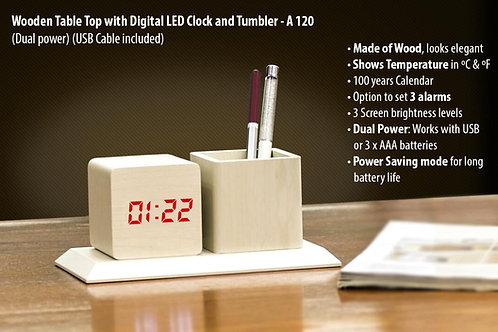 Wooden Tabletop with Digital LED Clock and tumbler A-120