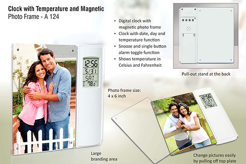 Clock with temperature and magnetic photo frame A-124
