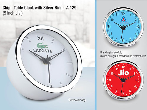 Table clock with Silver ring A-129