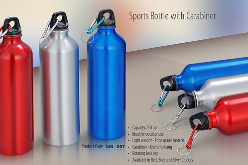 SPORTS BOTTLE WITH CARABINER - GLOSS (750ML) GM-007