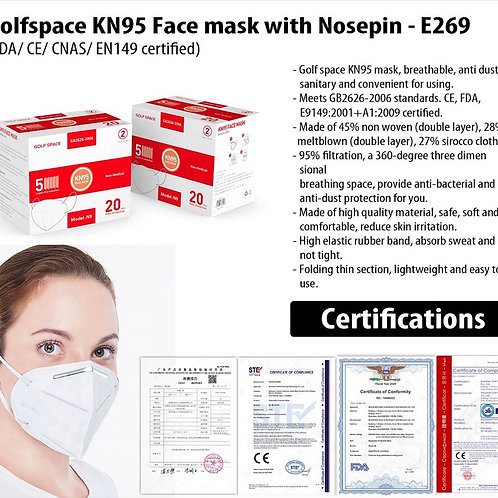Golfspace KN95 Face mask with Nosepin E-269