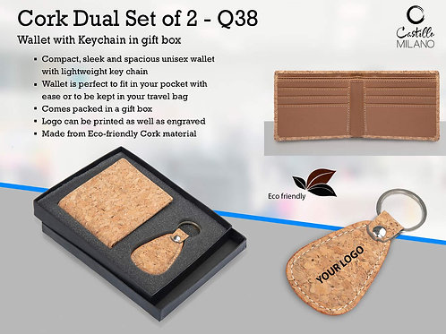 Cork Dual Set: Wallet with Keychain in gift box Q-38