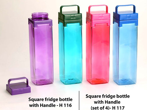 Square fridge bottle with Handle (Set of 4) H-117