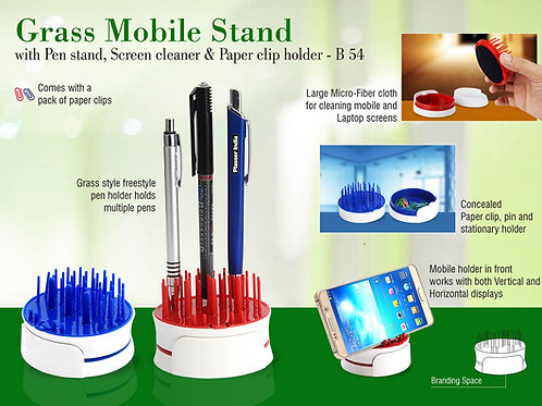 Grass Mobile stand with Pen stand, screen cleaner & paper clip holder B-54