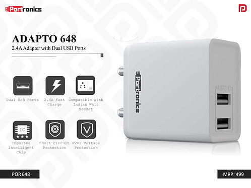 ADAPTO 648 2.4A Adapter with Dual USB Ports POR-648