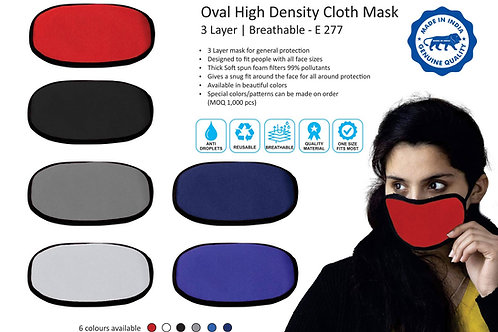 Oval high density cloth mask | 3 layer | Breathable E-277