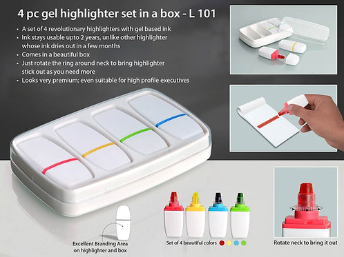 4 pc gel highlighter set in a box L-101