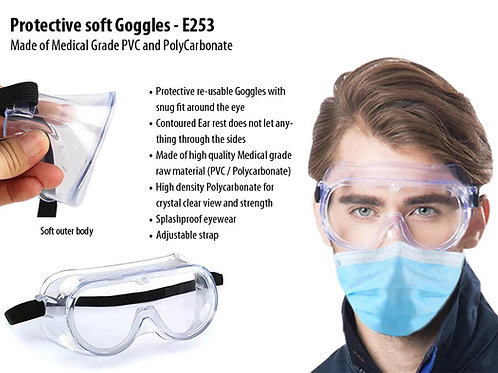 Protective soft Goggles | Made of Medical Grade PVC and Polycarbonate E-253