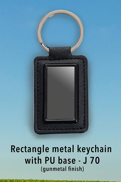 Rectangle metal keychain with PU base (gunmetal finish) J-70