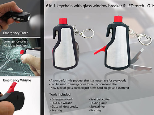 6 in 1 keychain with glass window breaker & LED torch G-19