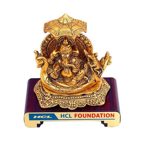 Ganesh Ji (Brass Finish) on Wooden Base MP-75