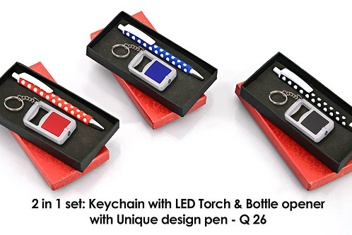 2 in 1 set: Key chain with opener and torch (J31) & Webbing circle pen Q-26