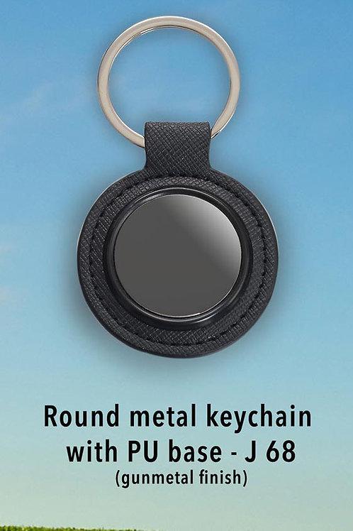 Round metal keychain with PU base (gunmetal finish) J-68