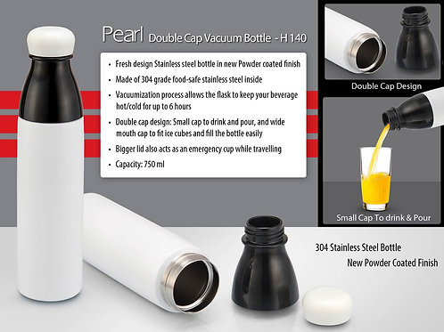 Pearl Double cap Vacuum bottle in powder coated finish (750ml) H-140