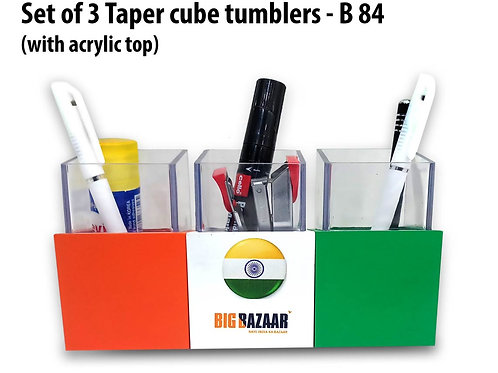 Set of 3 Taper cube tumblers with acrylic top B-84