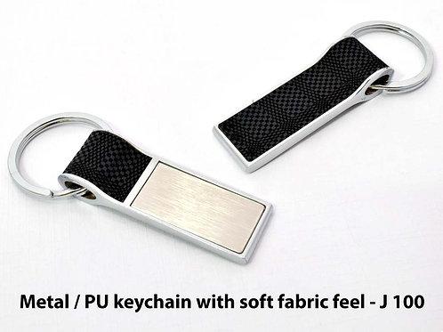 Metal / PU keychain with soft fabric feel J-100