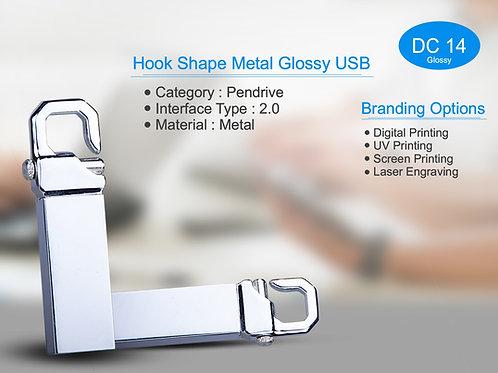 Hook Shape Metal Glossy USB DC-14