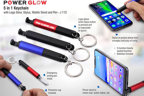 5 in 1 keychain with Logo glow, stylus, mobile stand and pen J-113