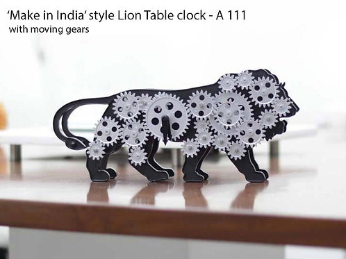 Make in India Lion Table clock with moving gears A-111