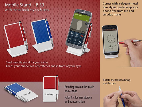 Mobile stand with metal look stylus & pen B-33
