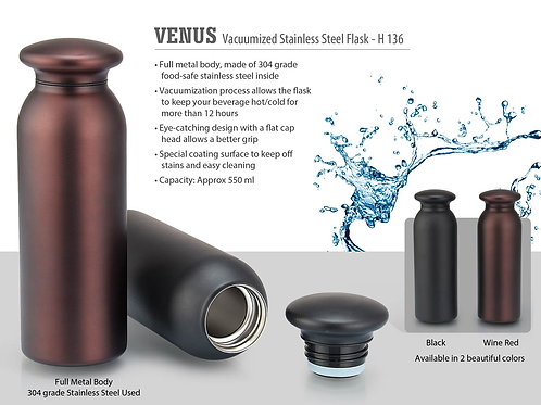 Venus Vacuumized Stainless steel Flask (550 ml approx) H-136