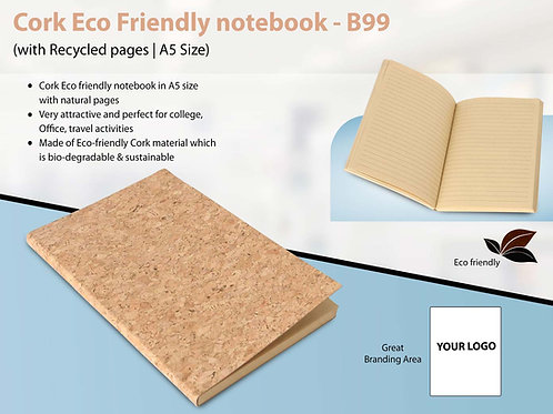 Cork Eco Friendly notebook with Recycled pages B-99