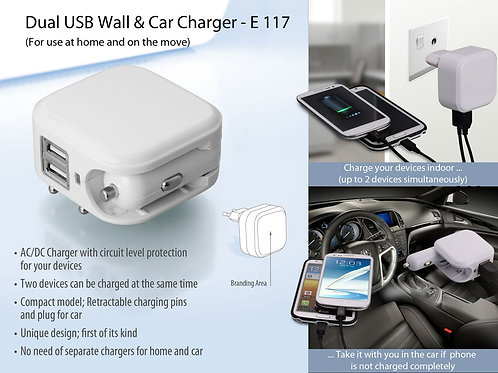 Wall and car charger- Dual USB E-117