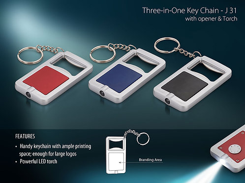3 in 1 Key chain with opener and torch (rectangle) J-31