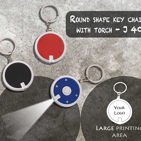 Round shape key chain with torch J-40