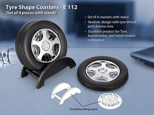 Tyre shape coaster set with stand (4 pcs) E-112