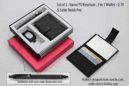 Set of 3 : Barrel PU Keychain (J71), 3 in 1 wallet (For cash, cards Q-19