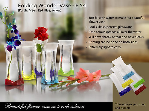 Folding Wonder Vase (Unbreakable, Leakproof, Easy to carry) E-54