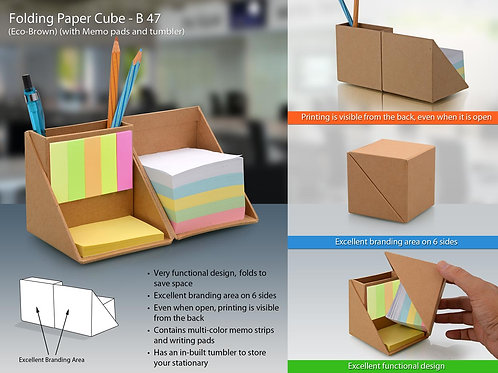 Folding paper cube (with memopad and tumbler B-47