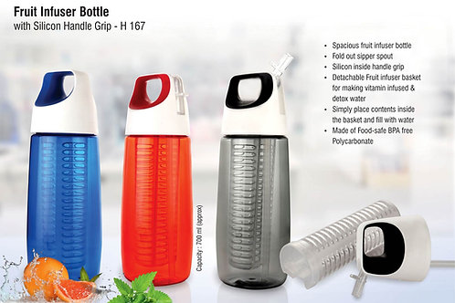 Fruit infuser bottle with silicon handle grip (700ml approx) | BPA free H-167