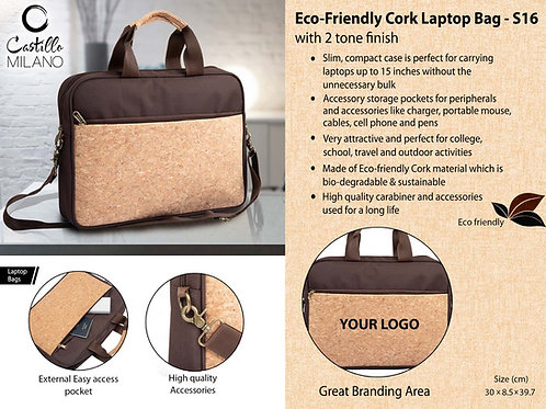 Eco-Friendly Cork Laptop Bag with 2 tone finish S-16