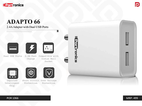 ADAPTO 66 2.4A Adapter with Dual USB Ports POR-1066