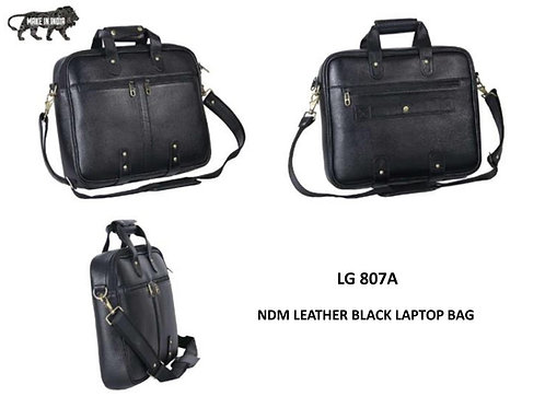BAGS NDM Leather Black Laptop Bag CI-LG-807A