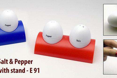 Egg shaped salt & pepper shaker set with stand E-91