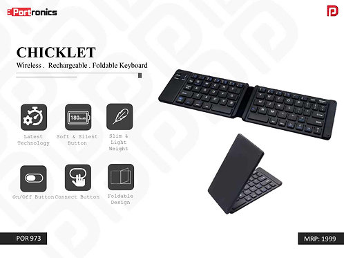 CHICKLET Wireless . Rechargeable . Foldable Keyboard POR-973
