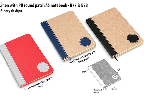 Colored Linen with PU round patch A5 notebook B-77