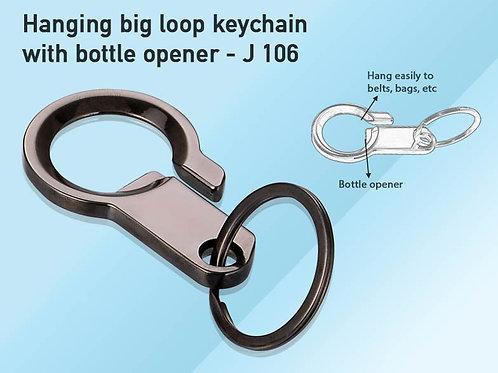 Hanging big loop keychain with bottle opener J-106